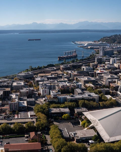 View of seaport from Space Needle in Seattle, Washington