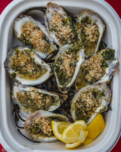 Chargrilled Oysters from Boat Run in Sparkman Wharf in Tampa Bay, Florida