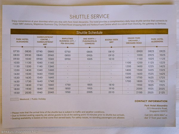 Complimentary Shuttle Service Schedule at Park Hotel Alexandra in Singapore