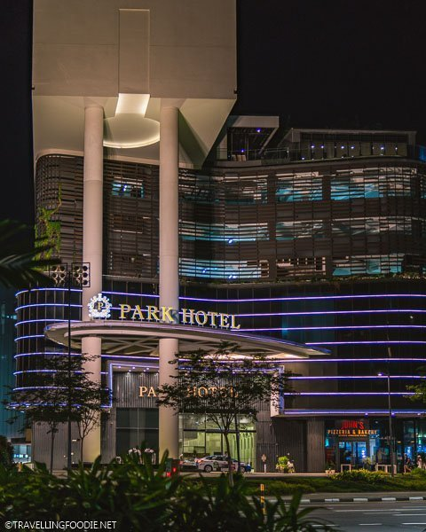 Exterior Entrance of Park Hotel Alexandra at night in Singapore