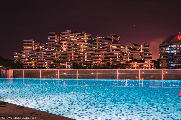 Infinity Pool and The Interlace view at night at Park Hotel Alexandra in Singapore