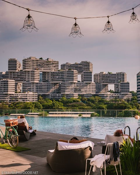 The Interlace view from the infinity pool at Park Hotel Alexandra in Singapore
