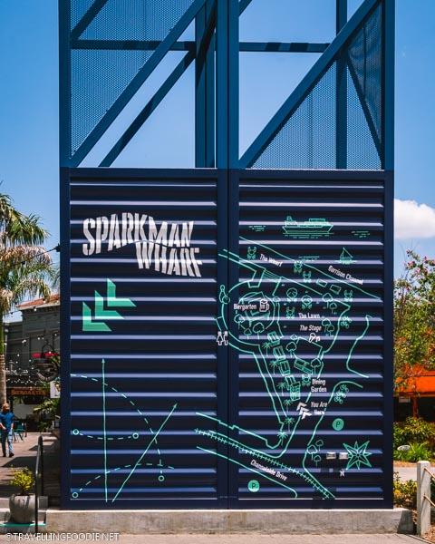 Sparkman Wharf Signage in Tampa Bay, Florida