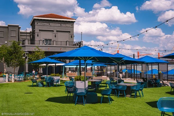 Dining garden at Sparkman Wharf in Tampa Bay, Florida