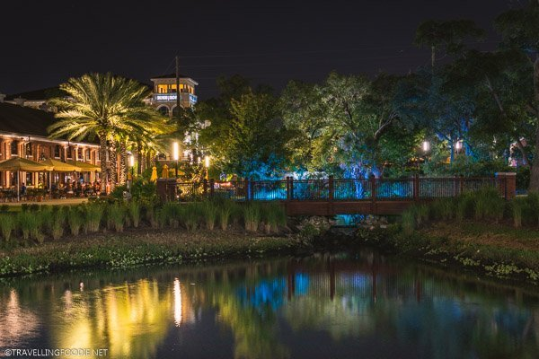 Ulele Springs at Night along Tampa Riverwalk, Florida