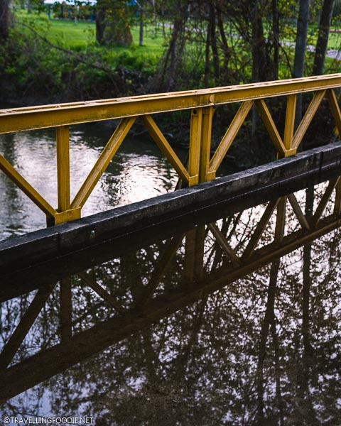 Reflections on Alexandra Park Bridge in Strathroy, Ontario
