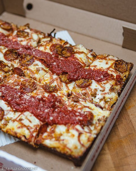 Detroit Style Deep Dish Pizza at Armando's Pizza in Windsor, Ontario