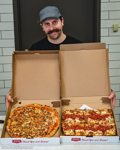 Chef Dean Litster showing Windsor Pizza and Detroit Deep Dish Pizza