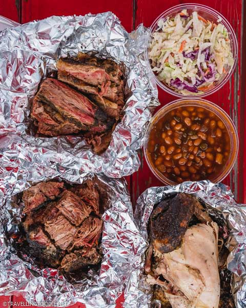 Burnt Ends, Brisket, Chicken, Coleslow and Beans at Big Lee's BBQ in Ocala, Florida