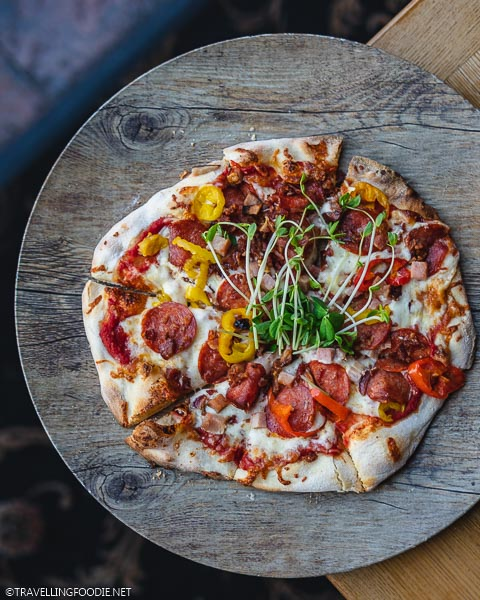 Spicy Meat Lovers Pizza at Clock Tower Bistro in Strathroy, Middlesex County