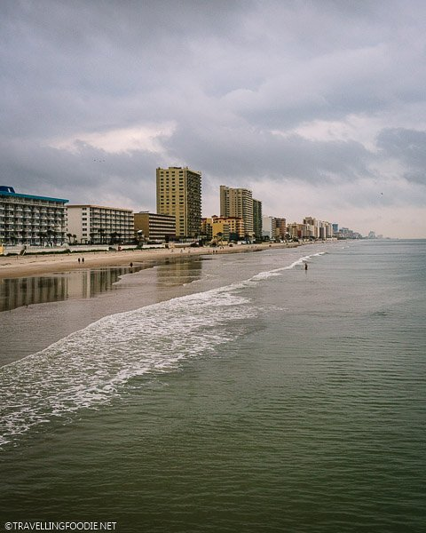 Beach view from Sunglow Pier in Daytona Beach, Florida