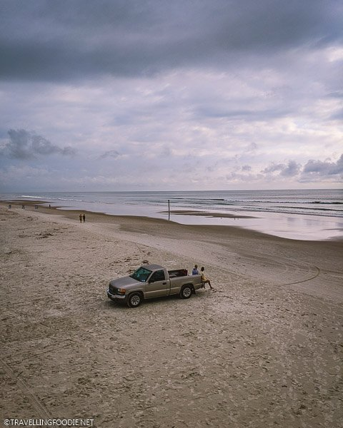 Car on the the Beach at Daytona Beach Shores, Florida