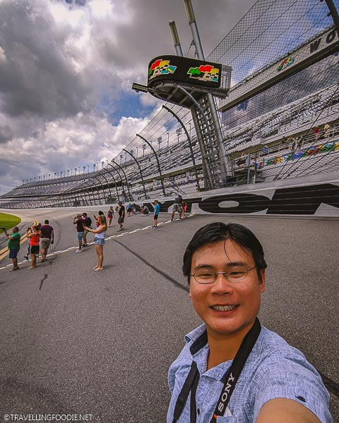Travelling Foodie Raymond Cua on the Infield Track at Daytona International Speedway