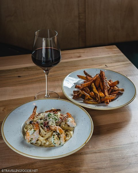 Fettuccini, Fries and Red Wine at Fat Olive Restaurant in Dorchester, Ontario
