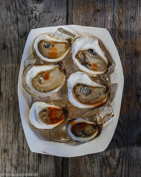 Six pieces Raspberry Point Farms Oysters at WindsorEats Street Food Festival