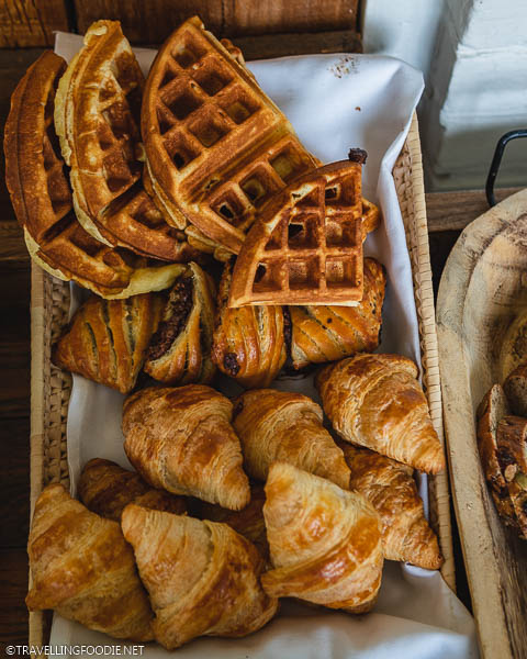 Fresh Waffles, Croissants and Rolls at Iron Kettle Bed and Breakfast
