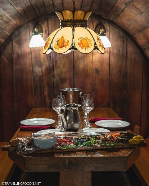 Table Setting inside Giant Barrel in Pelee Island Winery in Kingsville, Ontario