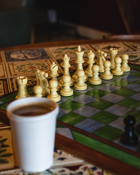 Chess and Cuban con Leche at Sweet Marlays' Coffee