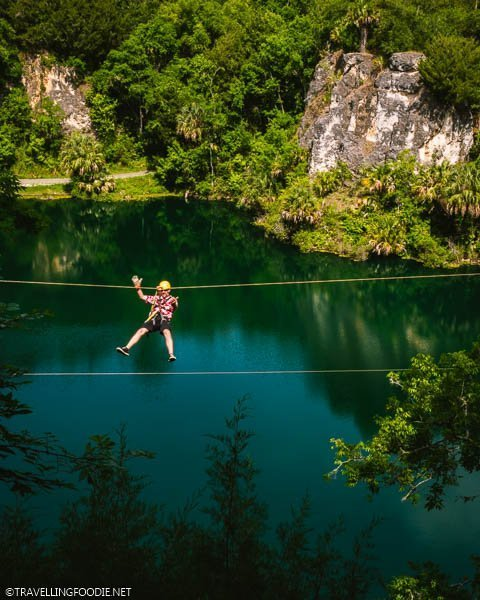 Guy Zip Lining at The Canyons Zip Line in Ocala, Florida
