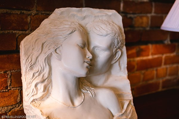 Carving of Couple in Love at Timeless Treasures in Windsor, Ontario