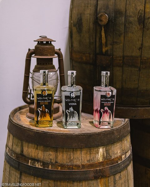 Three kinds of Vodka at Wolfhead Distillery in McGregor, Ontario