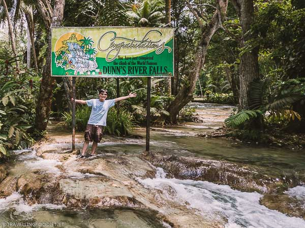 Travelling Foodie Raymond Cua at the end of Dunn's River Falls climb in Ocho Rios