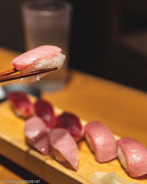 Blue Fin Tuna Nigiri at Itamae Sushi in Tokyo, Japan