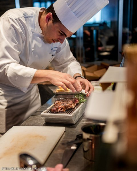 Chef making the Koji Beef at The Steakhouse in ANA InterContinental Tokyo