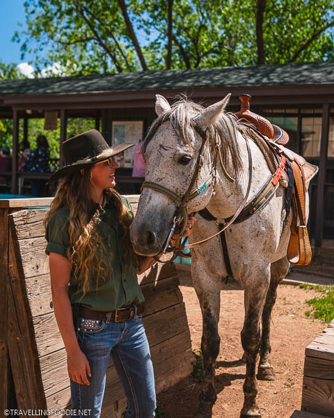 Female Stable Staff tending to Otis the Horse at Academy Riding Stables in Colorado Springs