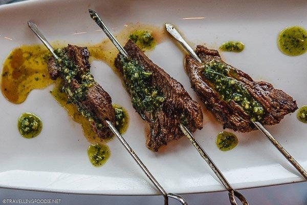 Three Bison Skewers with pesto at Aurum Food and Wine