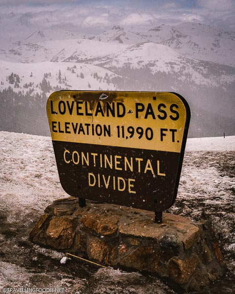 Loveland Pass Sign saying Elevation 11,990 feet at Colorado Continental Divide