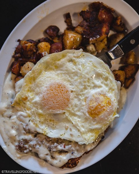 Breakfast Eggs on Country Fried Steak at Creekside Cafe