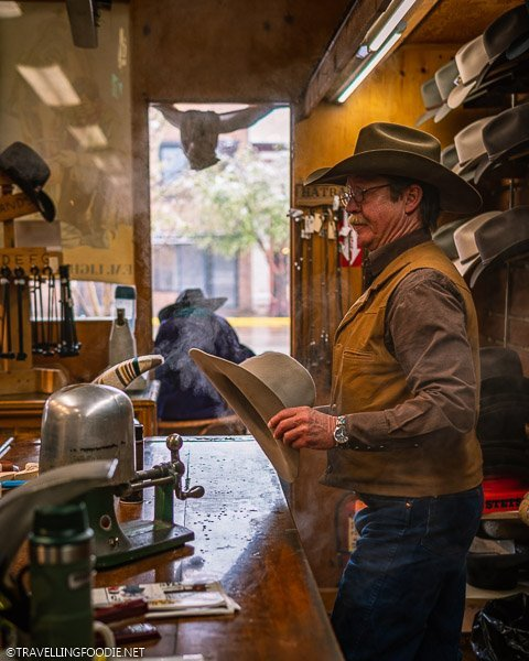 Cowboy steaming Fedora Hat at FM Light and Sons in Steamboat Springs
