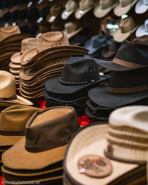 Different kinds and colors of cowboy hats at FM Light and Sons