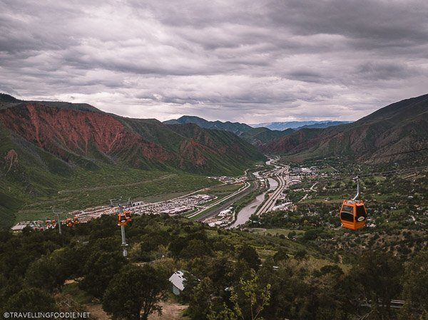 Views reddish mountains and gondola at Glenwood Caverns Adventure Park in Glenwood Springs
