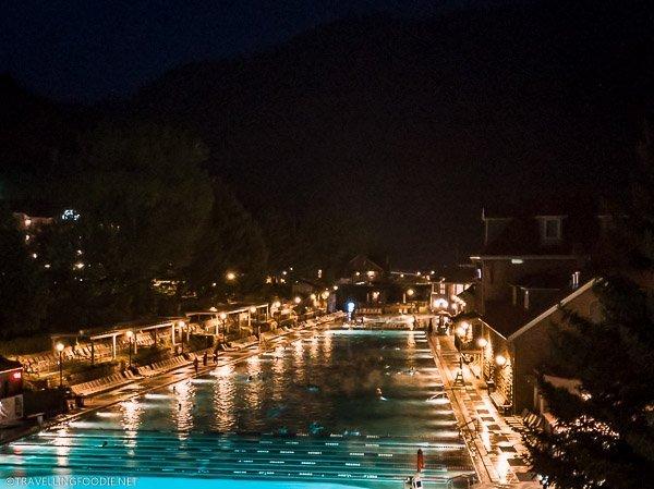Night time at Glenwood Hot Springs in Glenwood Springs, Colorado