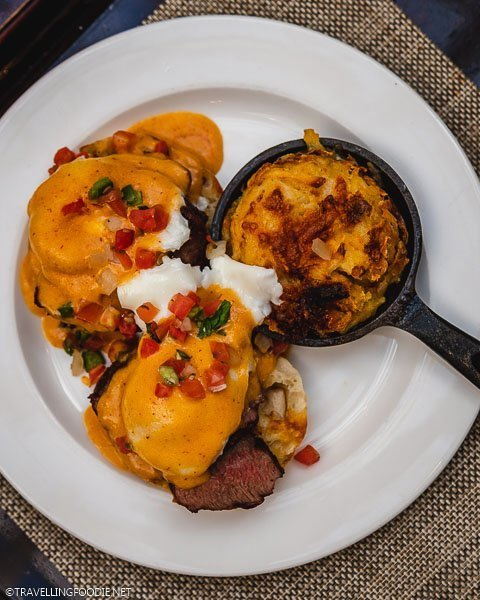 Steak & Eggs Benedict and Hashbrown at Hotel Colorado Restaurant and Bar in Glenwood Springs