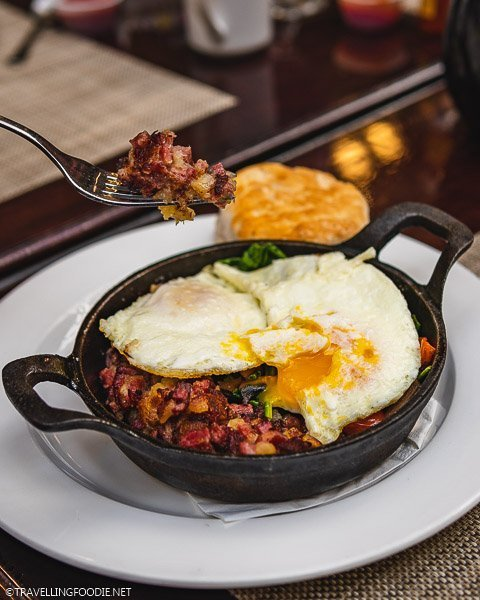 Fork with Corned Buffalo Hash at Hotel Colorado Restaurant and Bar in Glenwood Springs