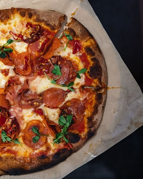 Spicy Meat Lovers Pizza at Limelight Hotel Snowmass