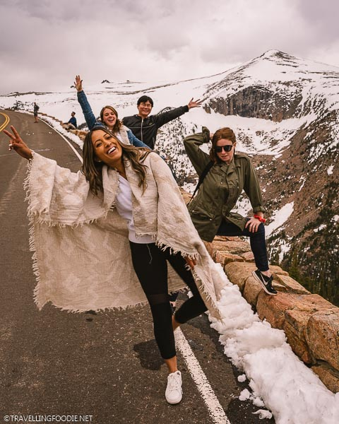 Bloggers posing on Trail Ridge Road at Rocky Mountain National Park