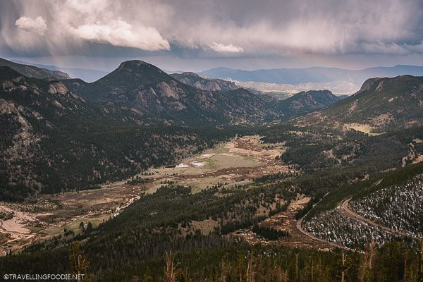 Landscape view of Rainbow Curve Overlook at Rocky Mountain National Park, USA