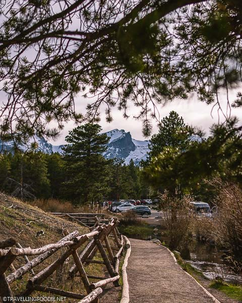 Framing the Snowy Mountain at Sprague Lake in Rocky Mountain National Park