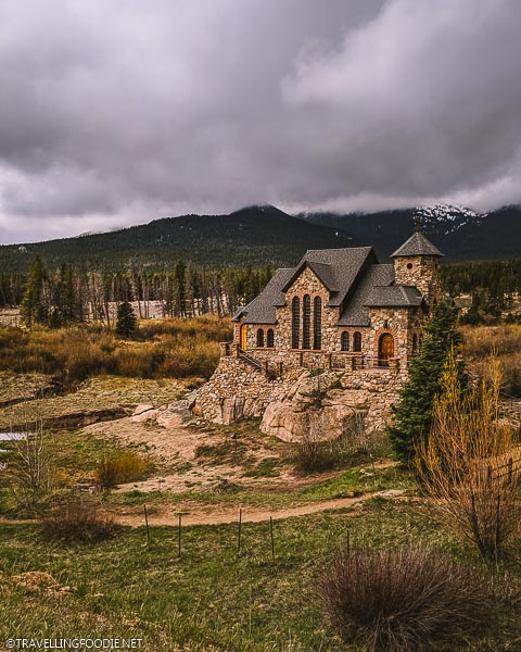Colorado Landmark Saint Malo Chapel on the Rock from the road in Estes Park