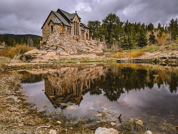 Landscape Reflections of Saint Malo Chapel on the Rock in Allenspark, Colorado