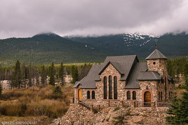 Saint Catherine's Chapel on the Rock with Rocky Mountains National Park