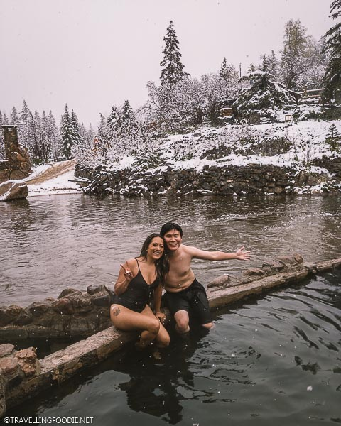 Krystle of Dine and Fash and Raymond Cua of Travelling Foodie at Strawberry Park Hot Springs