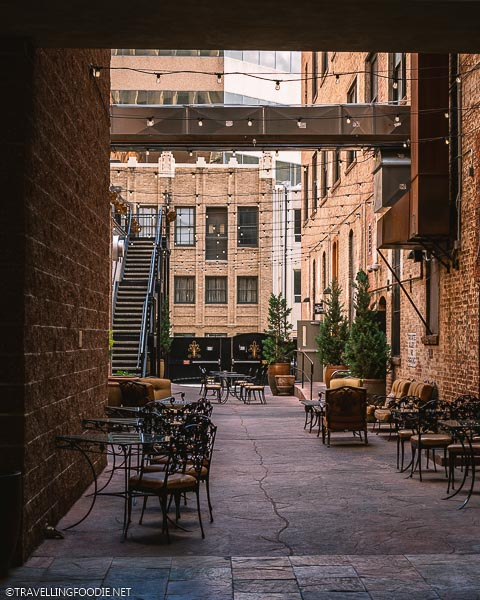 Outdoor seating at The Mining Exchange in Colorado Springs