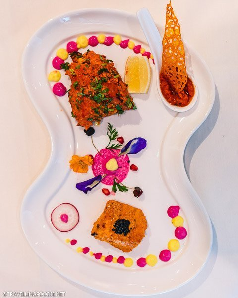 Smoked Salmon and Tandoori Chicken at The Song of India in Singapore