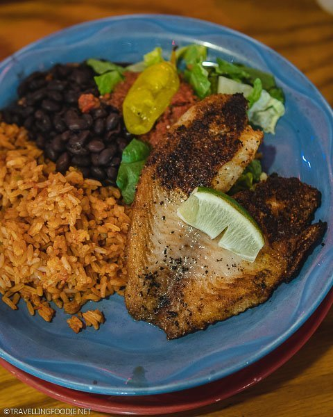 Blackened Tilapia with rice, beans and vegetables at Woody Creek Tavern in Snowmass