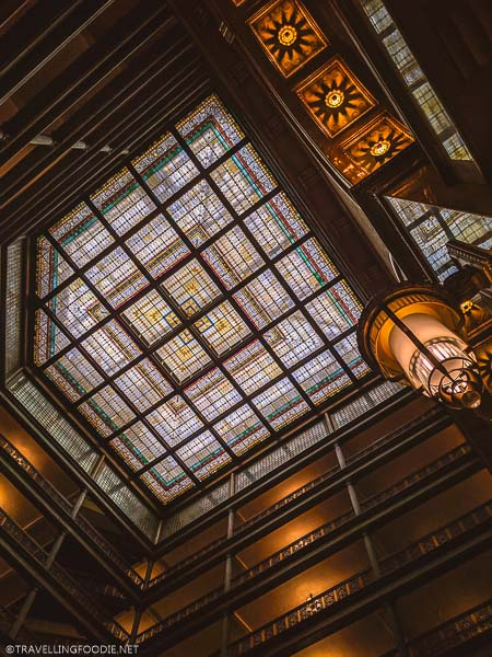 Brown Palace Hotel ceiling during eTuk Ride in Denver